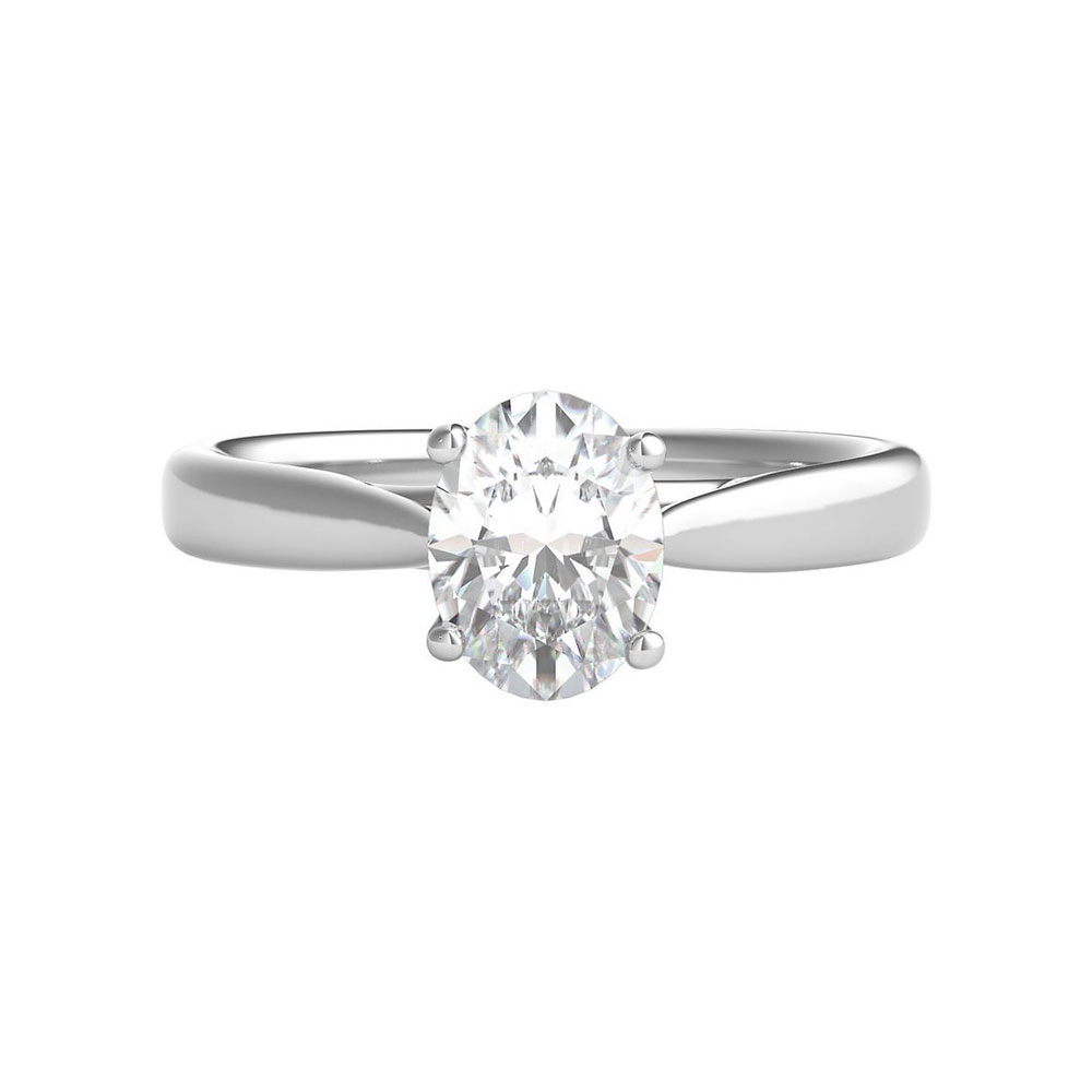 Oval solitaire Engagement ring on a plain band