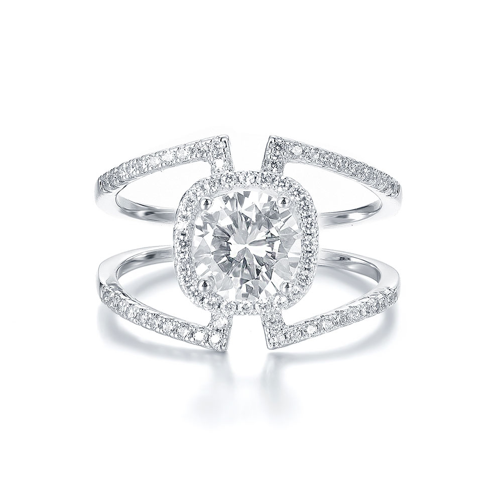 Double Band Cushion Halo Diamond Engagement Ring