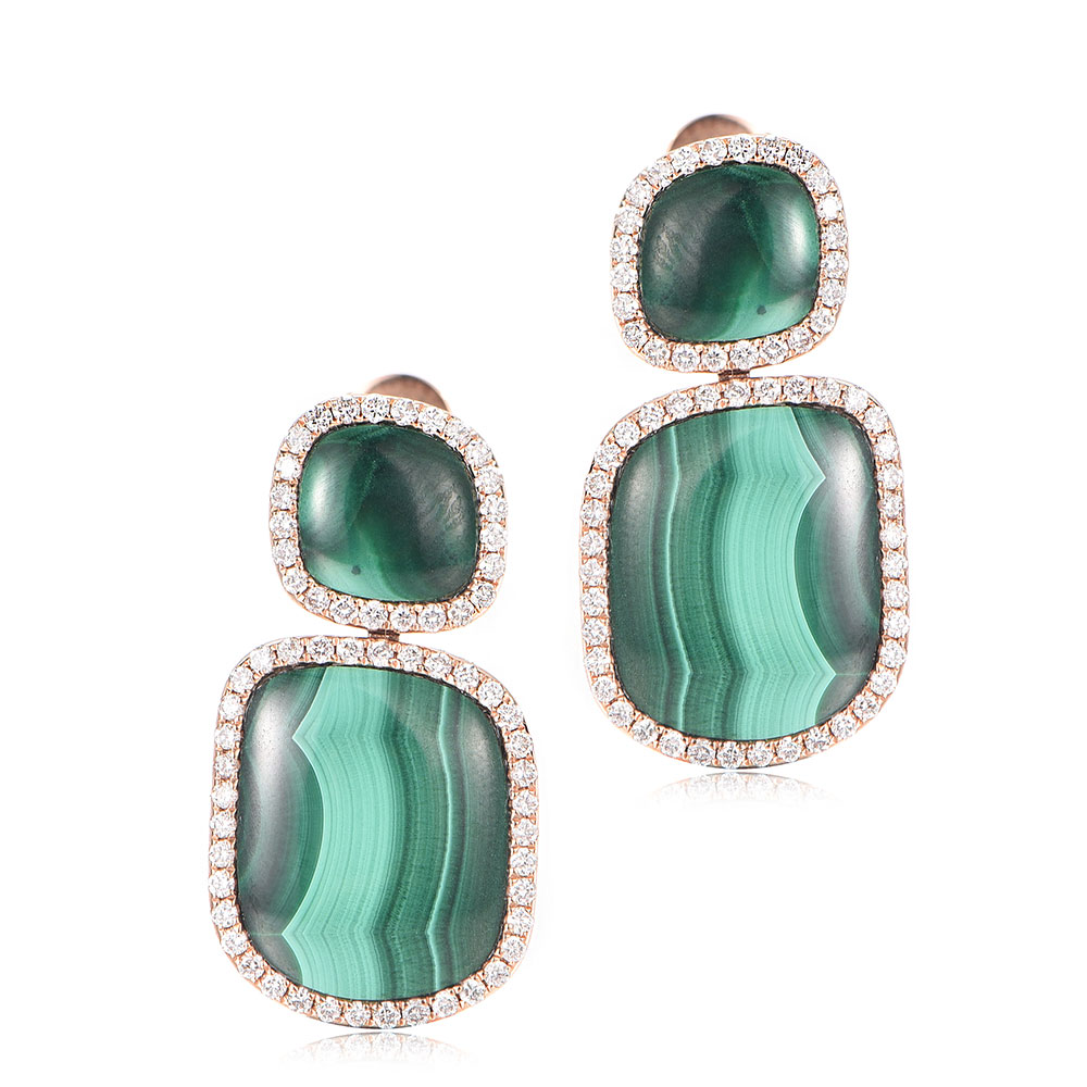 Malachite and Diamond Earrings