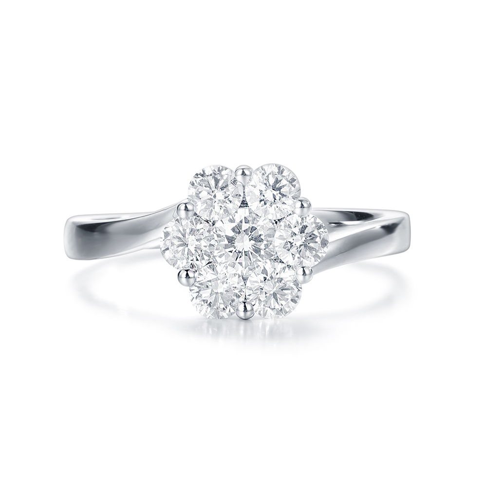 Round Diamond Floral Cluster Ring