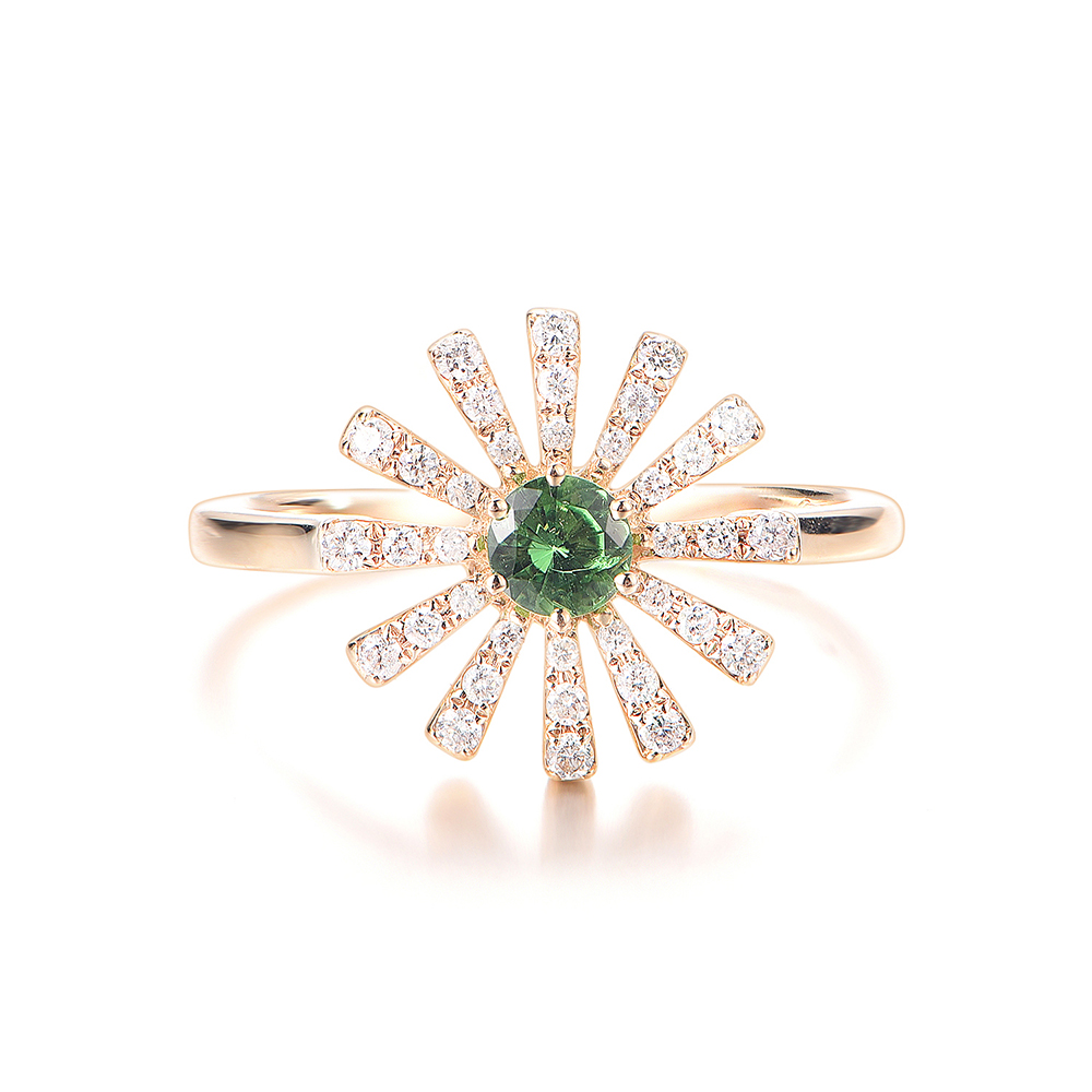 Green Tsavorite and Diamond Ring