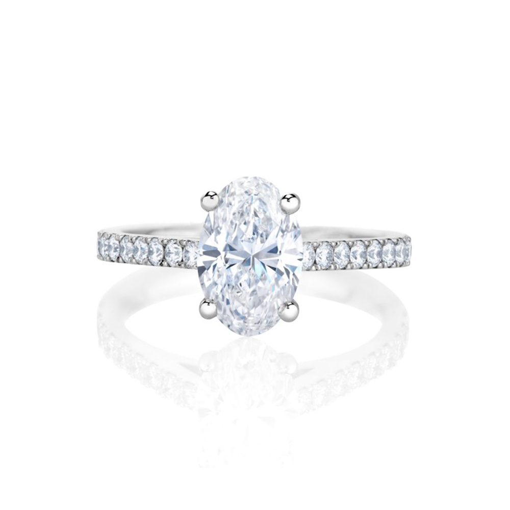 Oval cut engagment ring on a diamond band