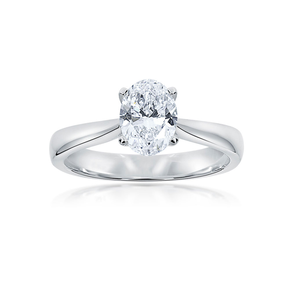 Oval Cut Diamond Engagement ring in four claw plain setting