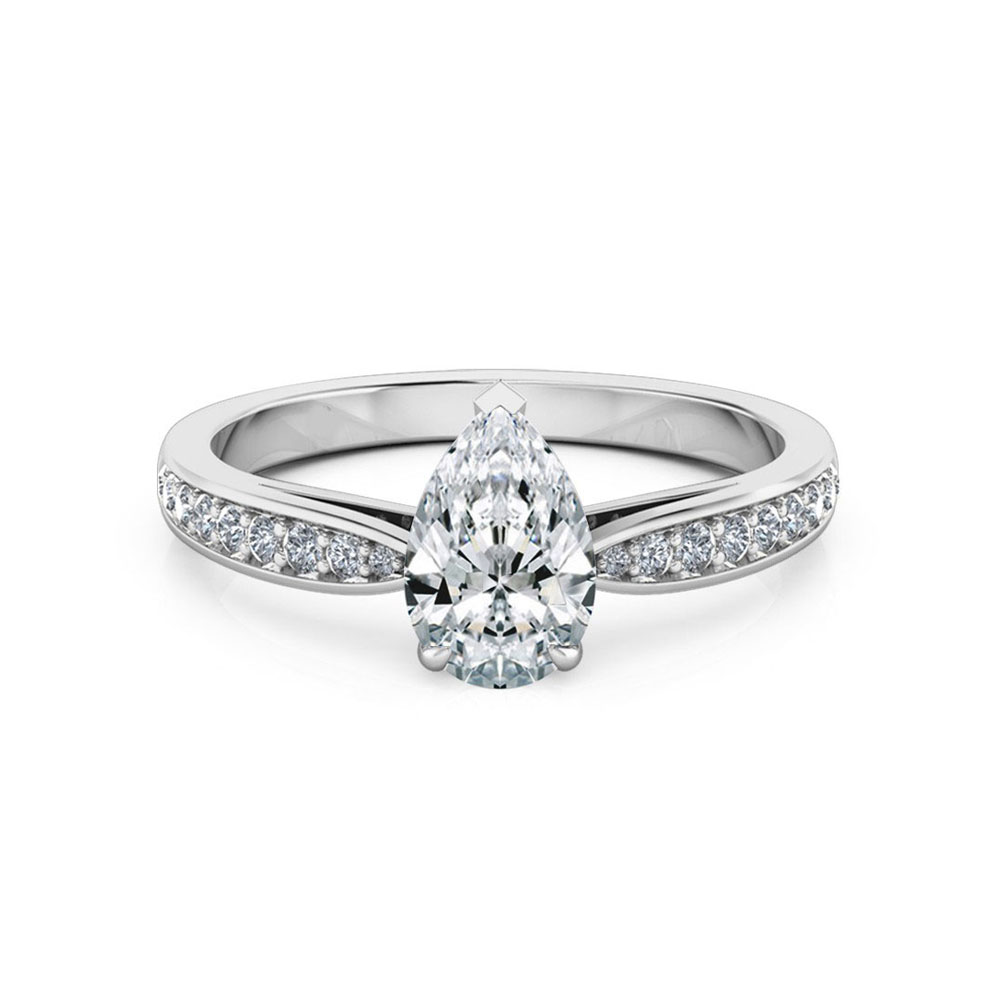 Pear cut diamond engagement ring on a diamond band