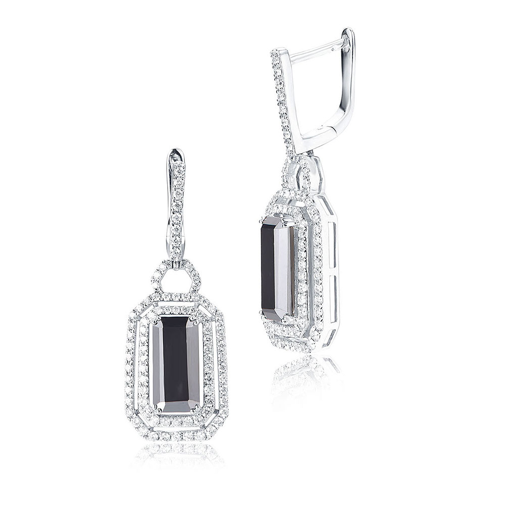 Hematite and Diamond drop Earrings