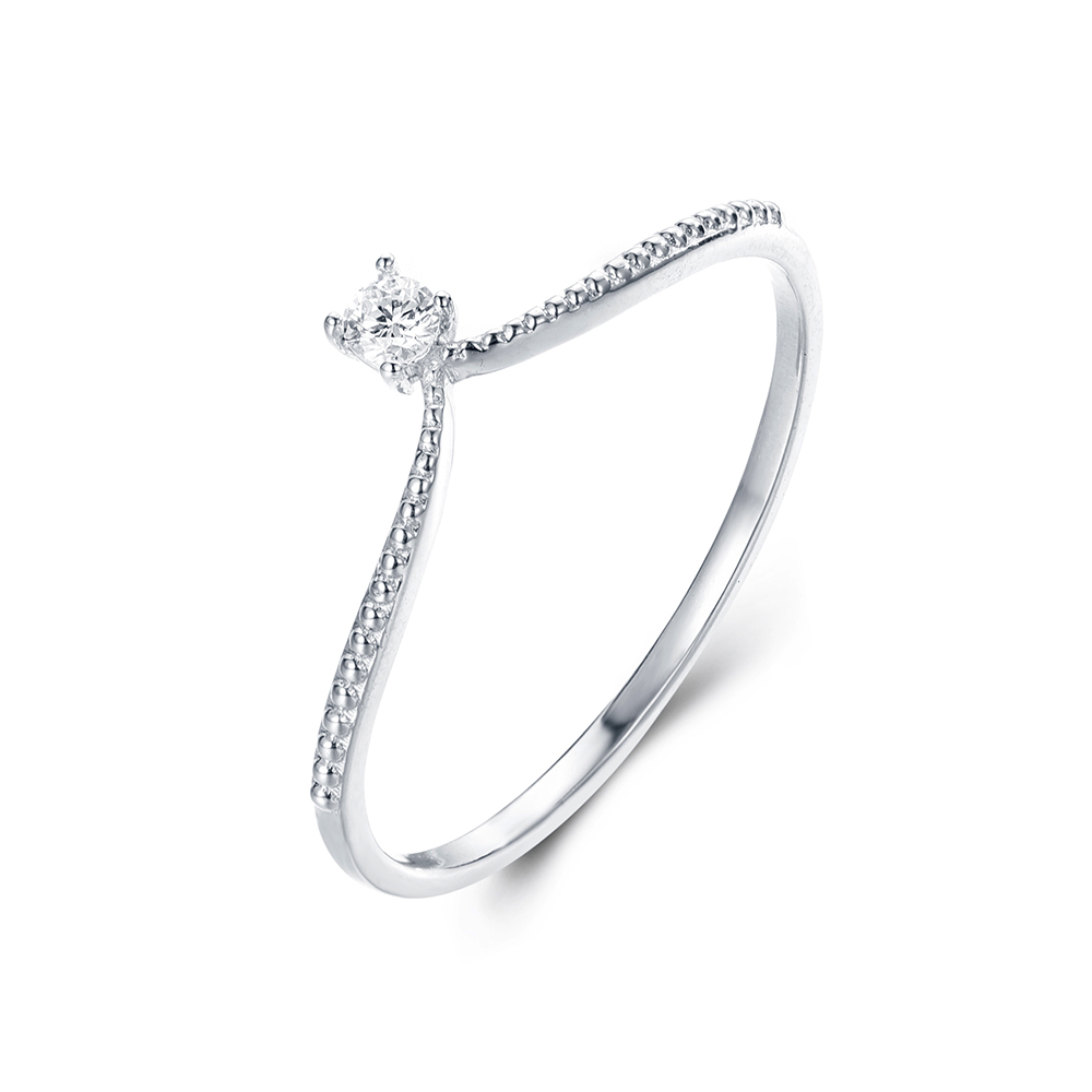 Fine Curved Diamond Ring