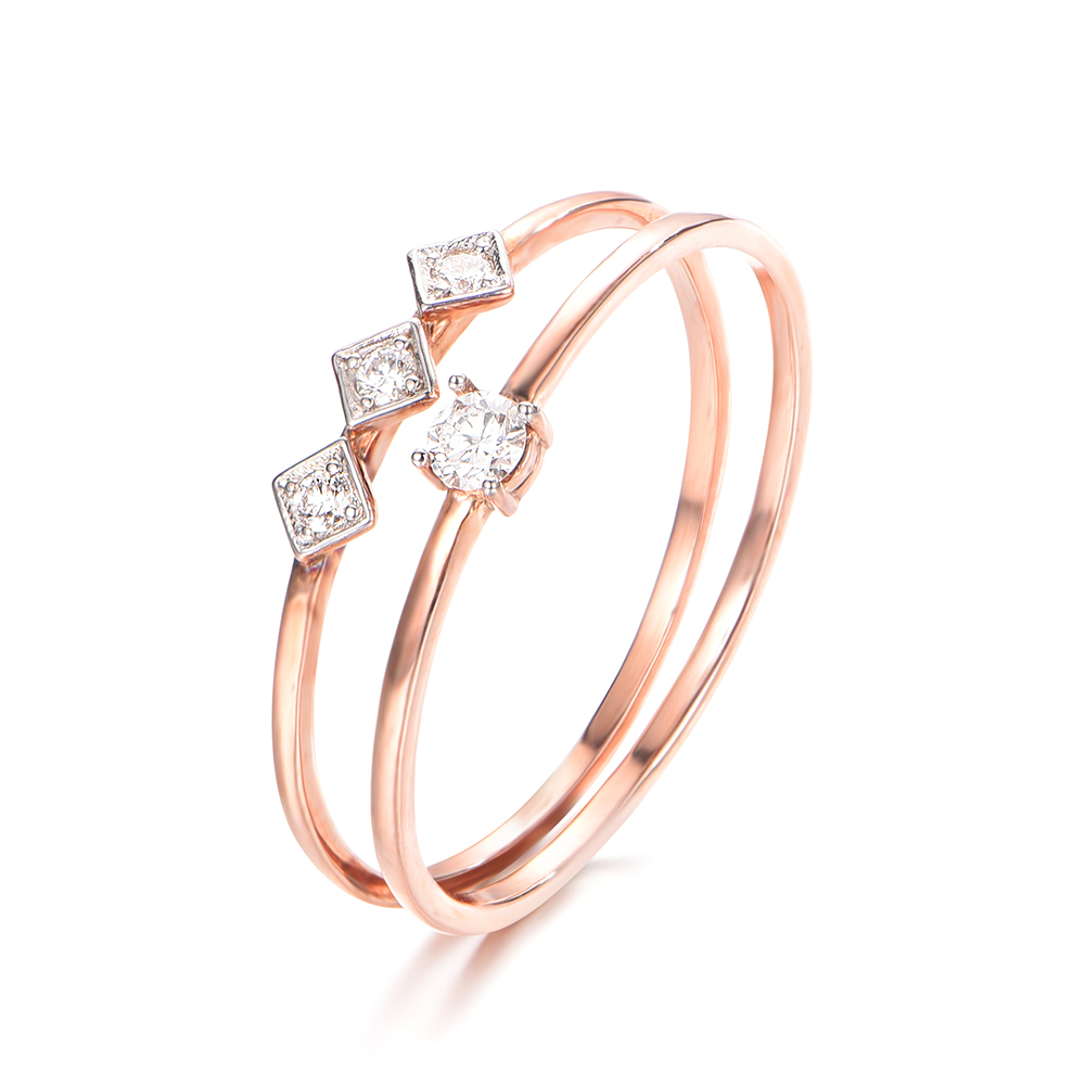 Double Band Fine Diamond Ring