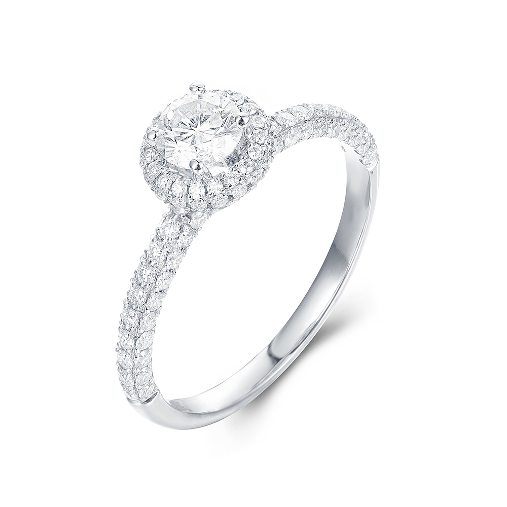 Round Brilliant cut with a 3D halo and Pave Band Engagement ring