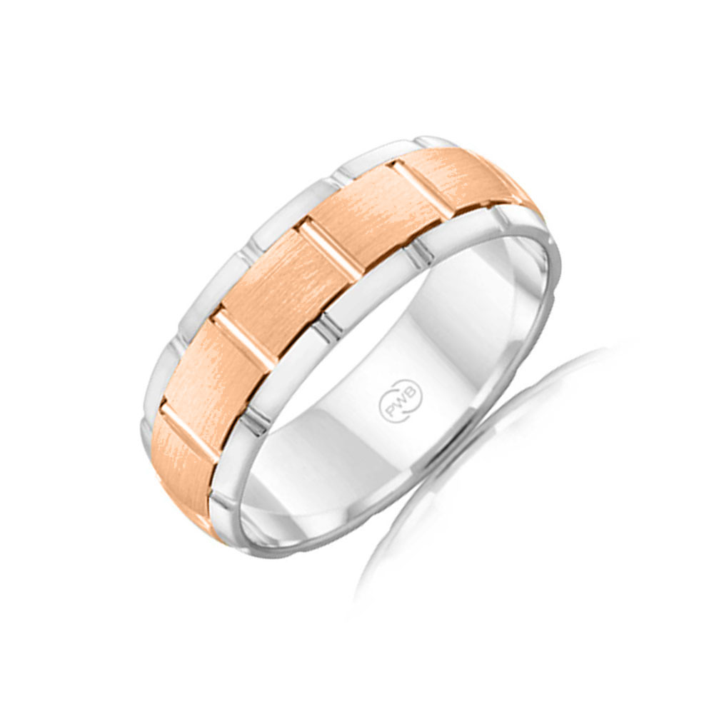 Two tone mens wedding ring 2TJ2712
