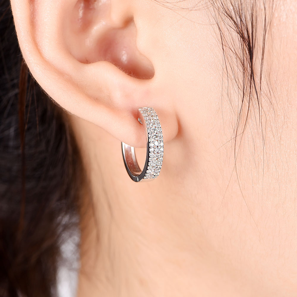Round and Baguette Diamond hoops
