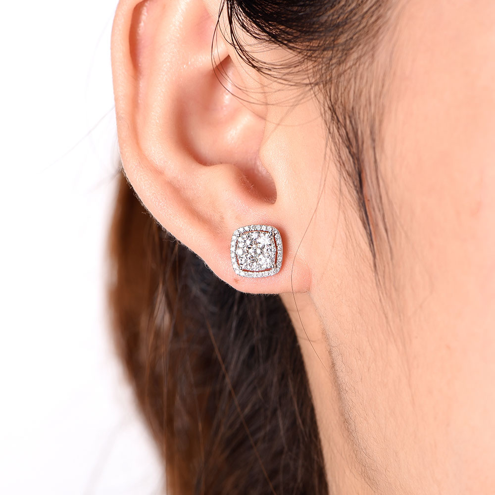 Cushion Cluster Studs