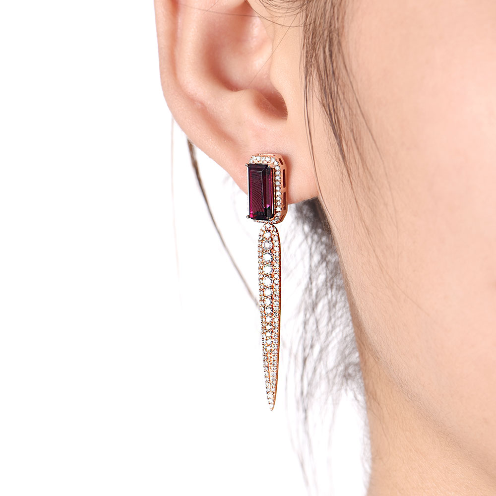 Rhodolite and Diamond Drop Earrings
