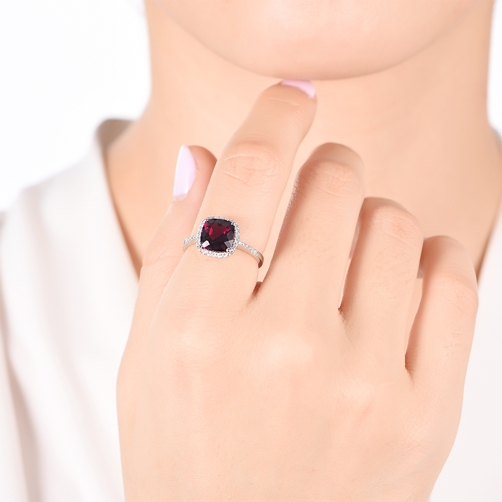 Cushion Cut Garnet Ring