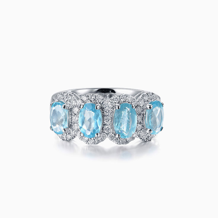 Blue Topaz Diamond Ring