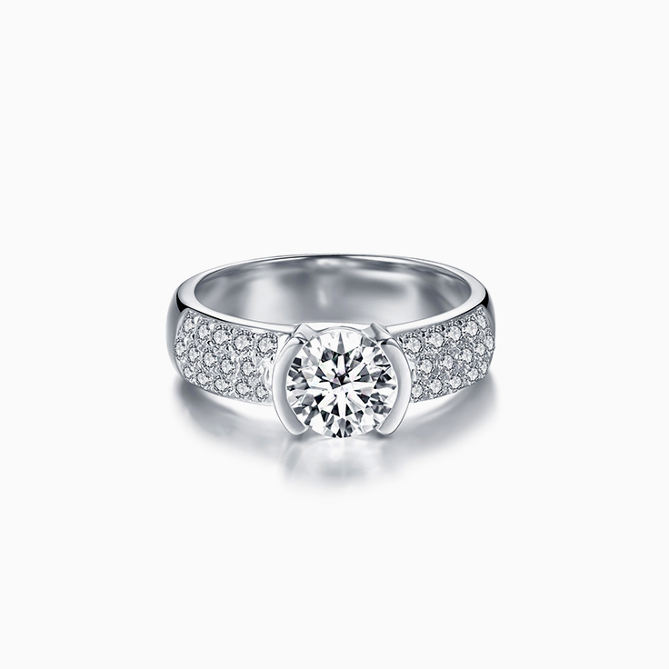 Round Diamond Partial Bezel Set Engagement Ring