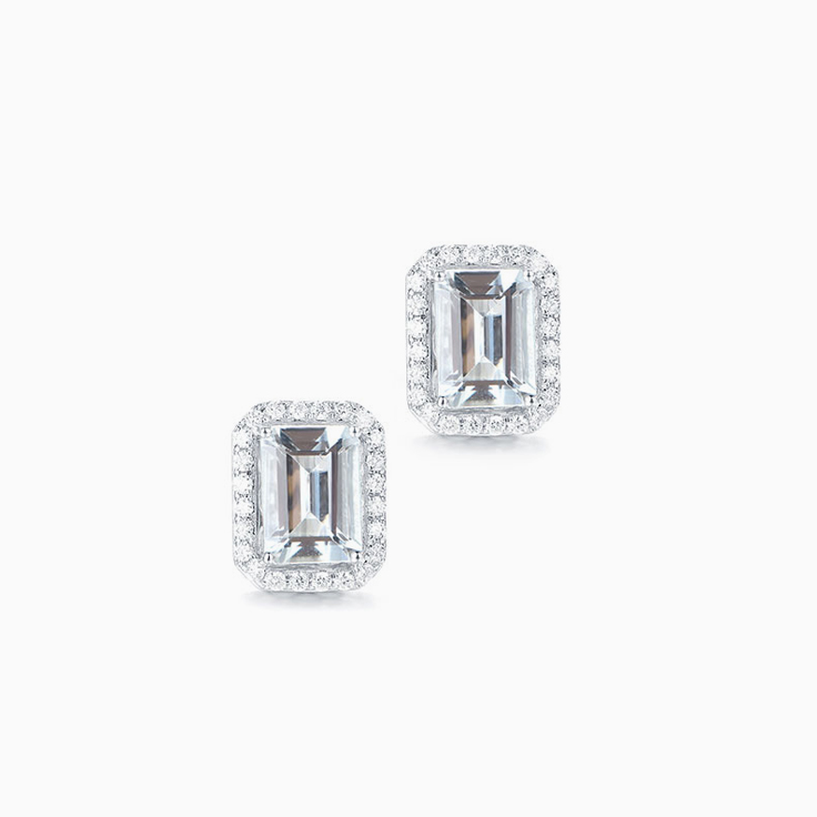 Aquamarine Diamond Studs
