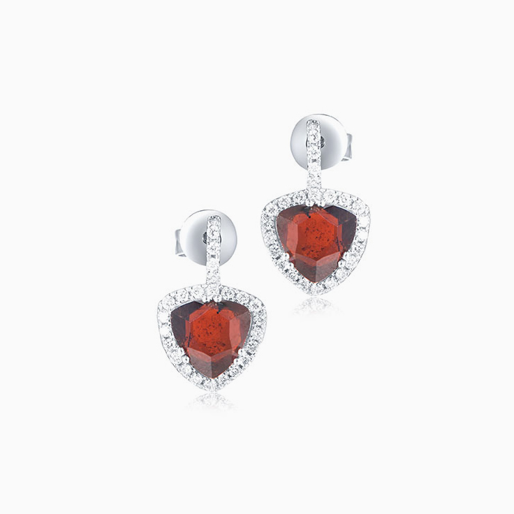 Red Garnet and Diamond Earrings