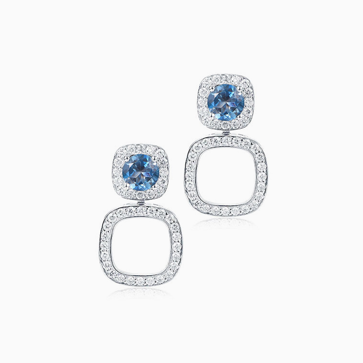 London Blue Topaz Cushion Halo earrings