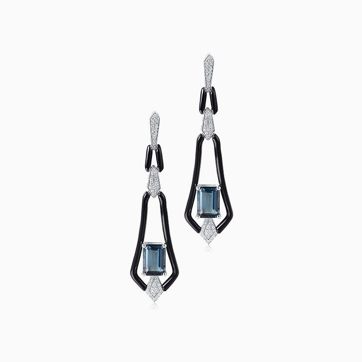 London Blue Topaz with Onyx Earrings