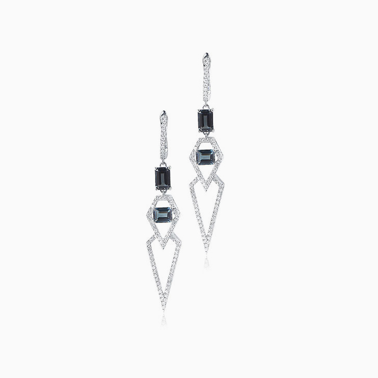 Emerald Cut London Blue topaz earrings