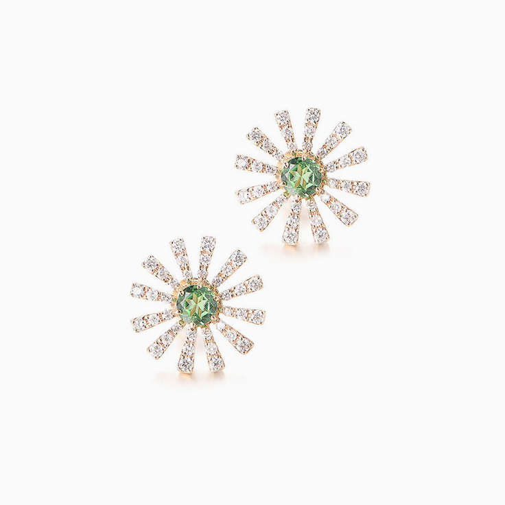Green Tsavorite and Diamond Studs