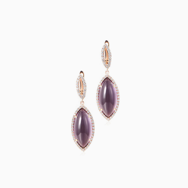 Marquise Amethyst Drop Earrings