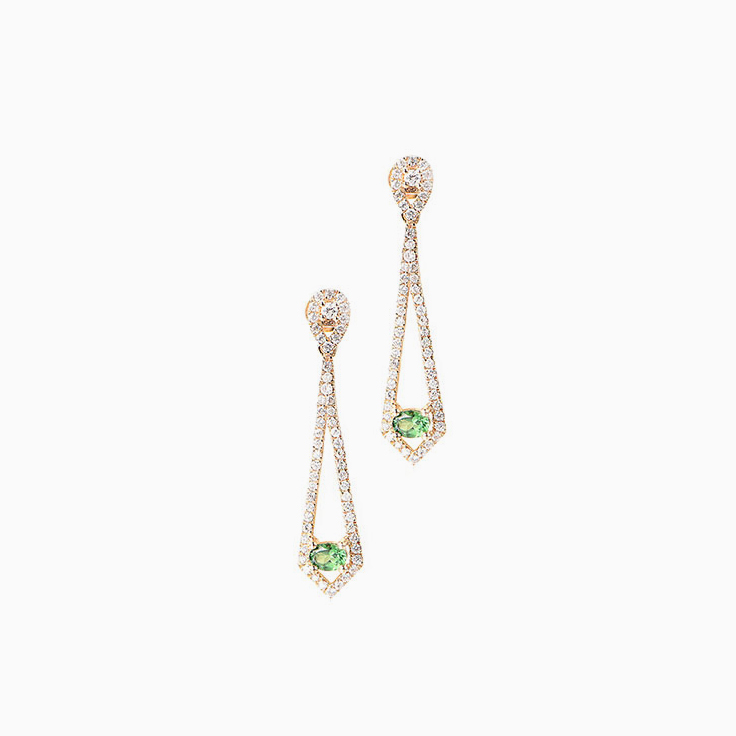 Oval Tsavorite Drop Earrings
