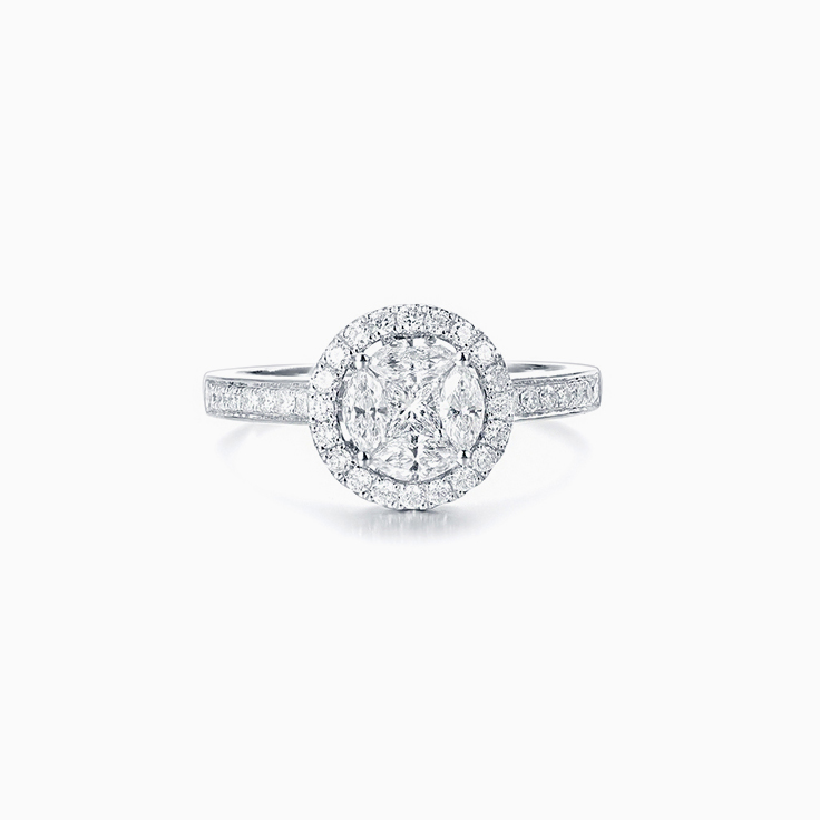 Round Cluster Diamond Ring
