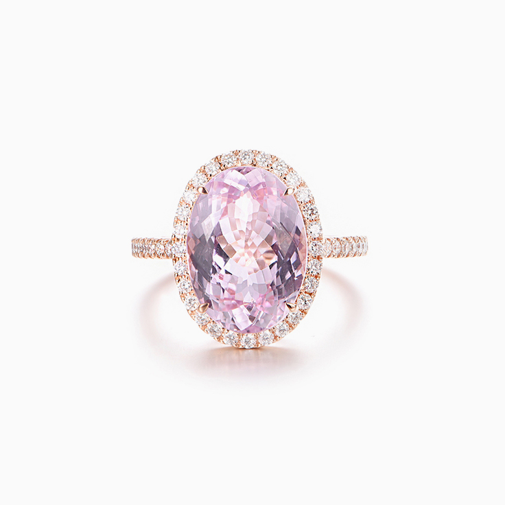 Kunzite Diamond Halo Ring