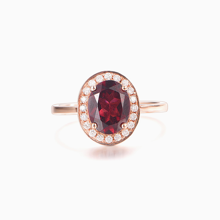 Red Garnet and Diamond Ring