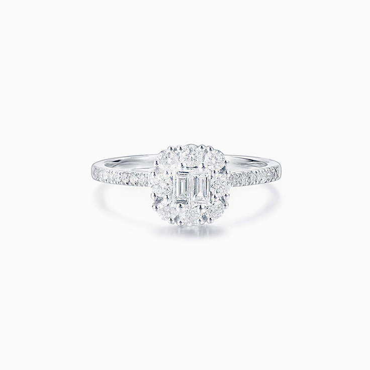 Cushion Shape Diamond Cluster Ring