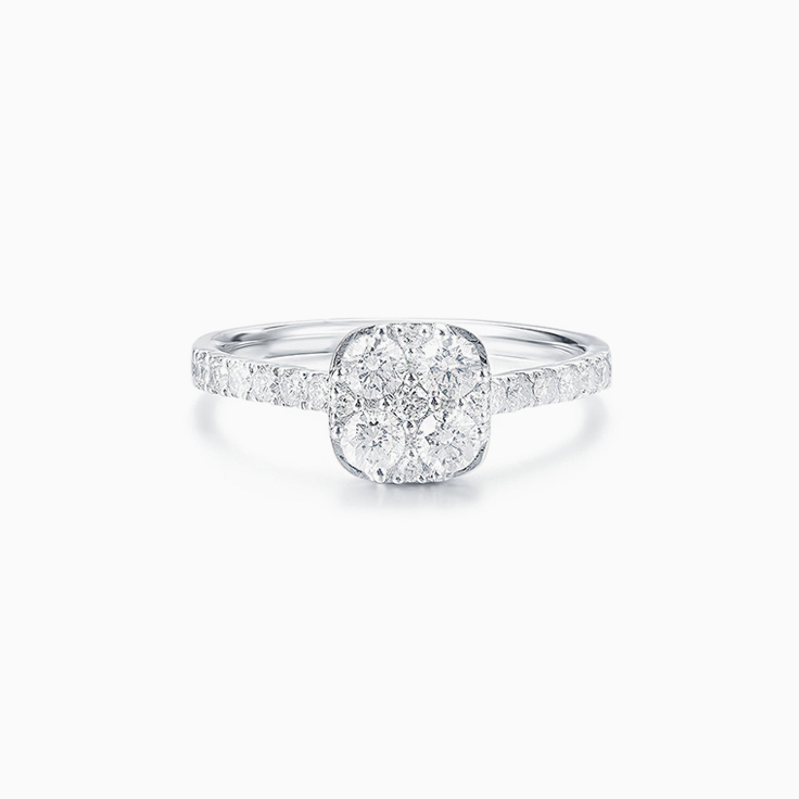 Cushion Shape Cluster Engagement ring