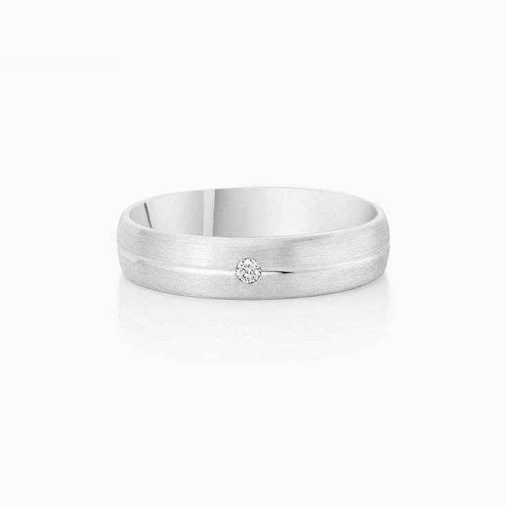 Drop Set Mens Wedding Ring