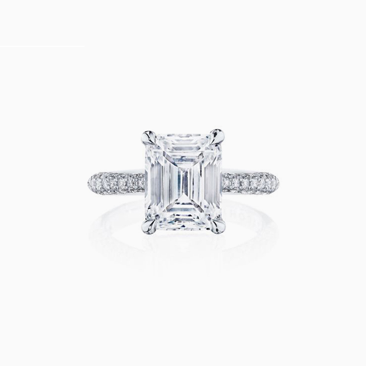 Emerald Cut Engagement ring on a diamond band