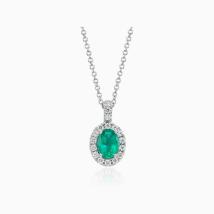 Green Emerald and Diamond Pendant