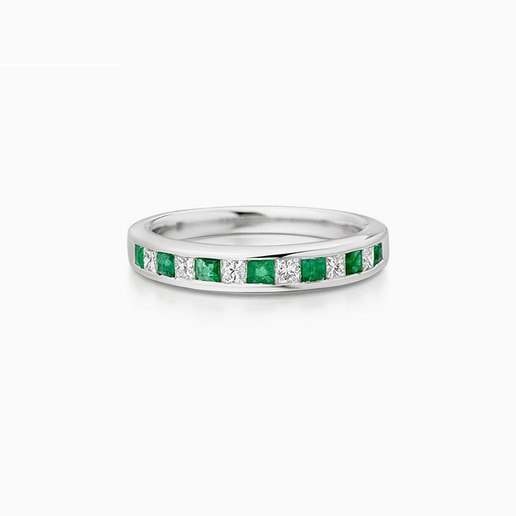 Green Emerald and Diamond Band