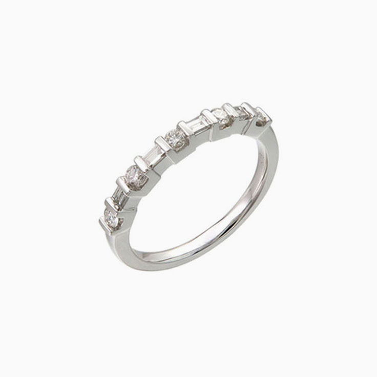 Partial Bezel set Wedding Ring