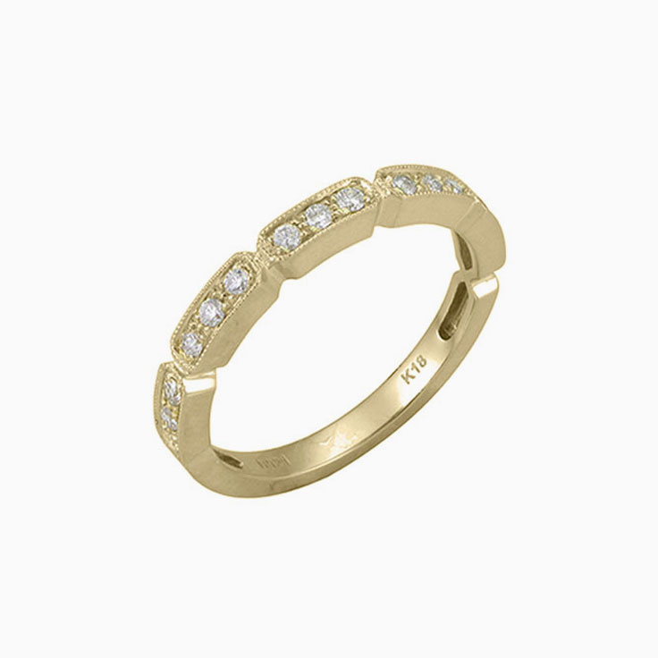 3stone pave set wedding ring