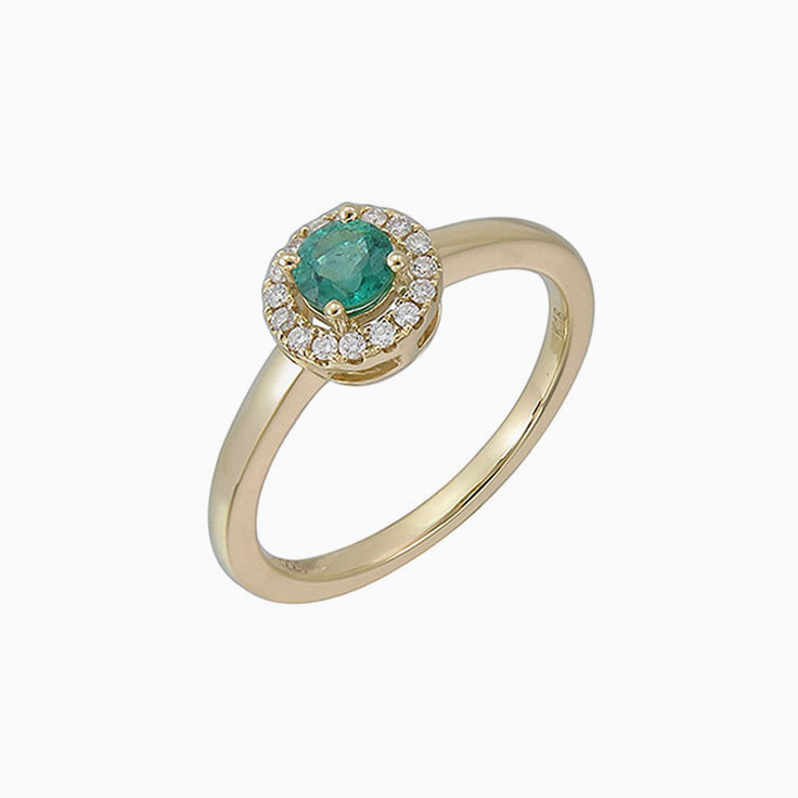 Green Emerald with a halo ring 3676