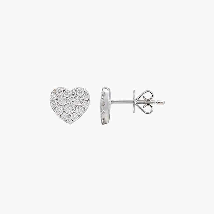 Round diamond Heart studs 734