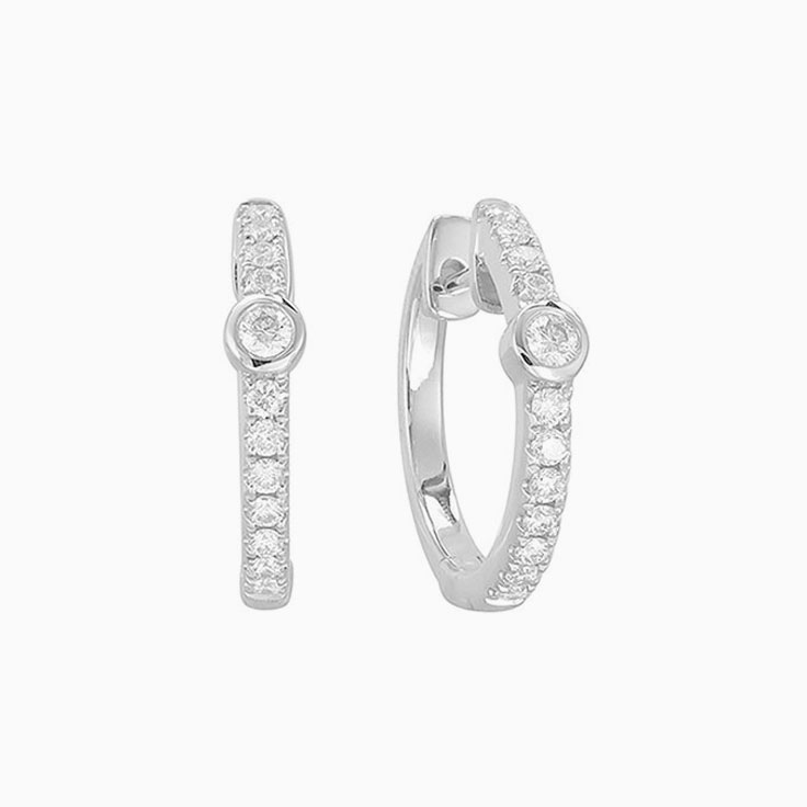 Pave set Diamond huggies F1030