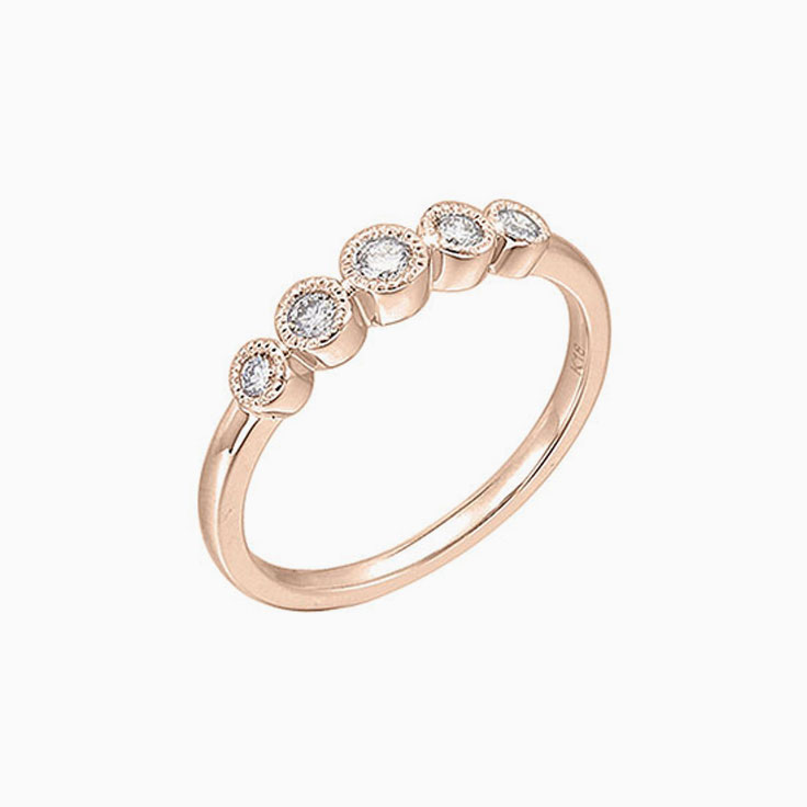 5stone Bezel set Diamond Ring