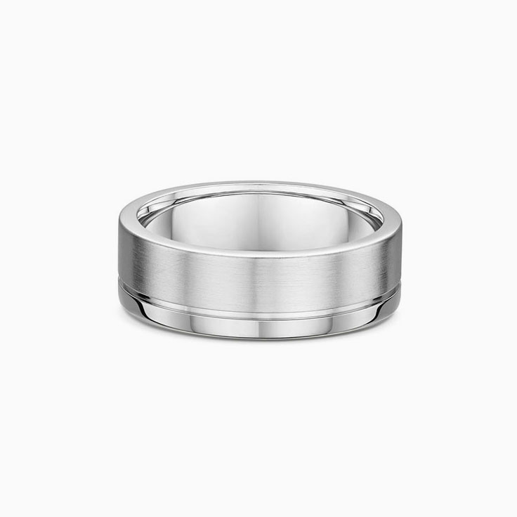 Side Grooved mens wedding ring 577A04