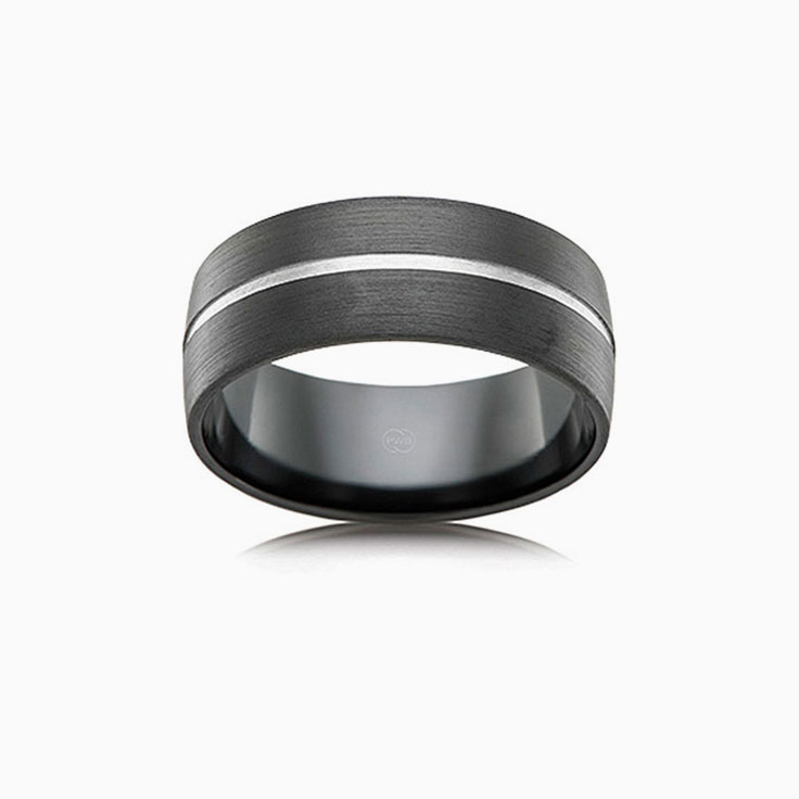 Zirconium Grooved Mens ring B4446