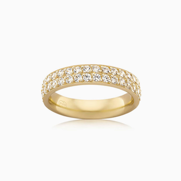 Double row pave set ring B4102