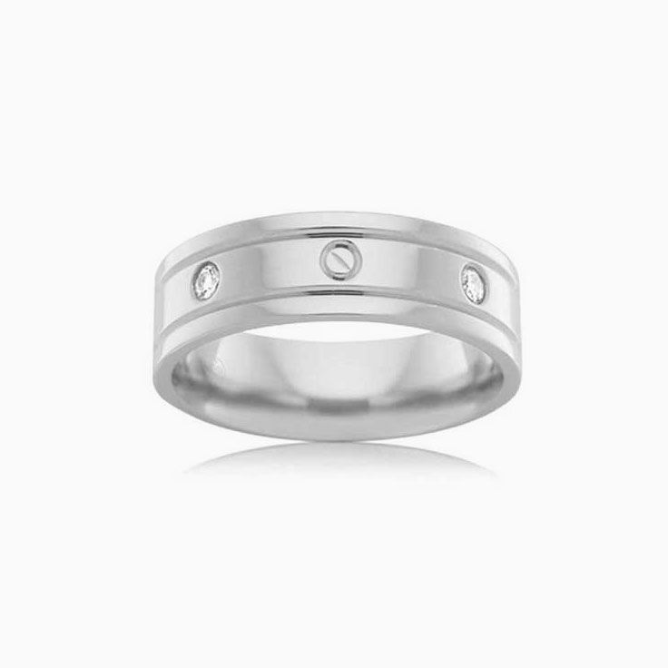 Diamond Grooved Mens Ring F3421