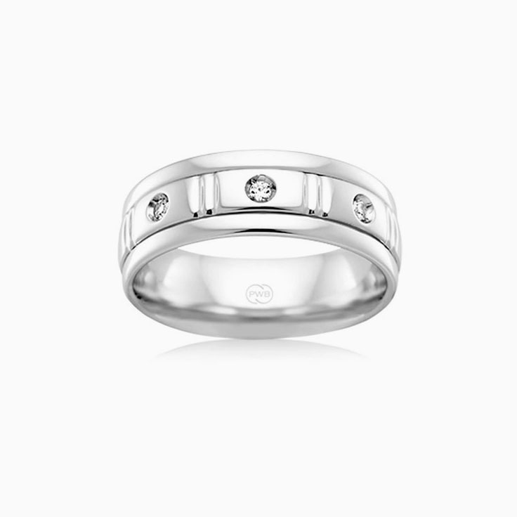 Diamond Grooved wedding ring J3082