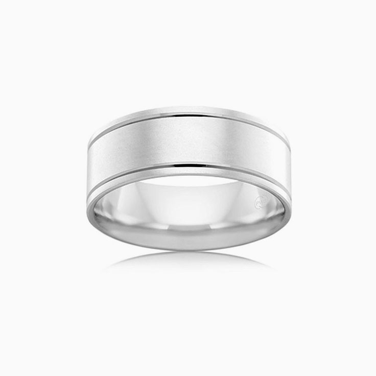 Dual grooved mens wedding ring F3120