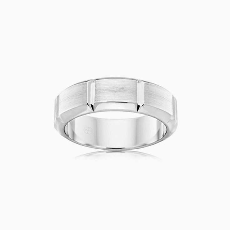 Bevelled Mens Wedding ring F3358