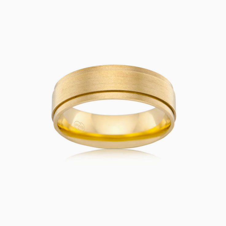 Brushed finish mens ring J1298
